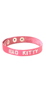 BAD KITTY Leather Pink Wordband Collar ~ SPWB-B9K