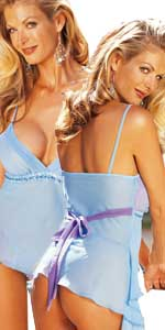 Light Blue Waterfall Chiffon Babydoll